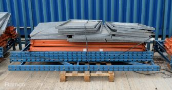 Racking Frames - 3x Uprights, numerous beams & shelving