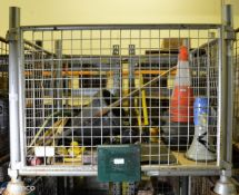 Drain rods, traffic cones, fire beaters, bolt croppers, sledgehammers, torches, megaphone