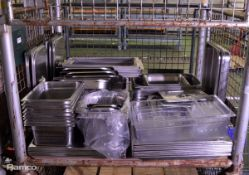 Various Catering Gastronorm pans, lids, plastic trays