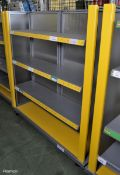 Double sided shelving shop display unit - L 1400mm x D 680mm x H 1540mm