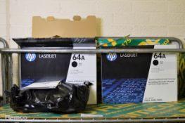 2x HP CC364A 64A Laserjet Black Print Cartridges
