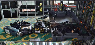 Black & Decker KX1600 1400W heat gun, Dewalt DCB105 Battery Charger, Dewalt DE9108 Battery