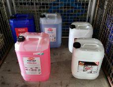 Triple QX wash n wax liquid, Carplan crystal fluid, Carplan Hi-Wax rinse liquid, Carplan A