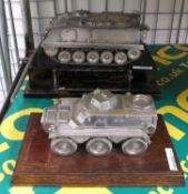 Metal Model Tank on a Wooden Base & Armoured Military Personnel Carrier Metal Model