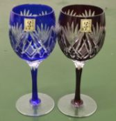 2x Oriental Glass Goblets In a Wooden Box