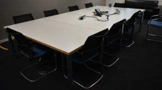 Contents of room include, 4 section desk, L 3600mm x W 1800mm x H 1040mm, 10 x meeting cha