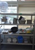 Four tier kitchen storage rack with contents, contents to include- Plastic containers, kit