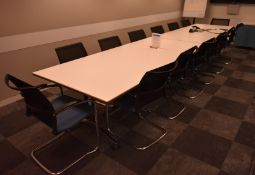 2 x Conference meeting table, L 2400mm x W 1050mm x H 730mm, accompanied by 14 chairs, A f
