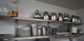 2 Stainless steel shelves plus contents, contents to include plastic food containers, cof