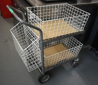 Two tier mobile kitchen trolley, L 930mm x W 500mm x H 1000mm