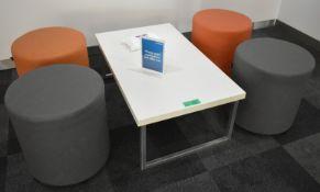 4 x Padded stools, 1 table L 1000mm x W 600mm x H 380mm