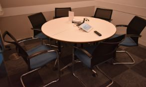 Conference meeting table, W 1400mm x H 750mm, accompanied by 6 chairs, A frame notice boar