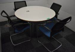 Meeting table, W 1200mm x H 750mm, accompanied by 4 chairs