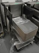 Hupfer mobile canteen tray stacker, to include trays, L 750mm x W 520mm x H 900mm