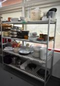 Four tier kitchen storage rack with contents, contents to include- pestle and mortar, plat