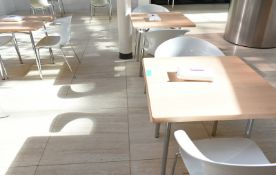3 x square canteen table, W 800mm x H 750mm accompanied by 6 x plastic seats
