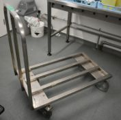 Stainless steel mobile kitchen trolley, L 1050mm x W 600mm x H 1050mm