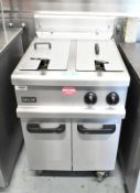 Lincat twin tank gas fryer, model OG7111/N, L800mm x W 610mm x H 1080mm