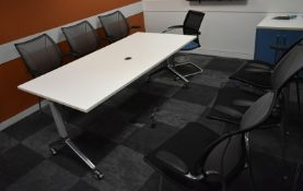 Conference meeting table, L 1800mm x W 900mm x H 750mm, accompanied by 7 chairs, A frame n