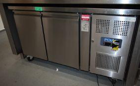 Polar under counter two door fridge, model G596, L 1370mm x W 700mm x H 860mm