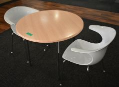 1 x round canteen table, W 900mm x H 750mm, accompanied by 2 x plastic seats