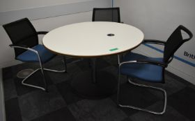 Meeting table, W 1200mm x H 750mm, accompanied by 3 chairs