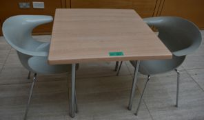 1 x square canteen table, W 800mm x H 750mm accompanied by 2 x plastic seats