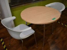 3 x round canteen table accompanied by 5 x plastic seats