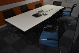 Meeting room contents, 1 x table L 2400mm x W 1050mm x H 750mm, 8 x conference chairs, A-