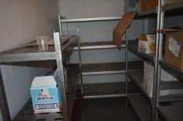 4 x Various sized 4 tier kitchen racking. 1 x Stainless steel three tier kitchen racking L