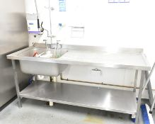 Stainless steel wash basin with mixer tap, L 1800mm x W 650mm x H 2000mm