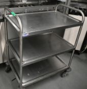 Three tier stainless steel mobile kitchen trolley, L 800mm x W 550mm x H 950mm