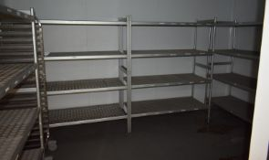 5 x Various sized 4 tier kitchen racking. 3 x Four tier kitchen racking L 1570mm x W 580mm