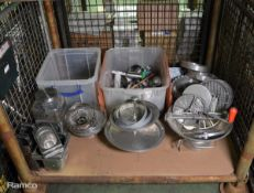 Various Kitchen Utensils, Cake Stands, Cook knives, Containers
