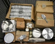 Metal bucket chip servers, metal scoops, cooking pot, 3oz ramekin dishes, plates, table ca