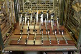 6x Bar bottle holders on wooden racks
