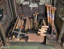 Various Hand Tools, Picks, Shovels, Hammers