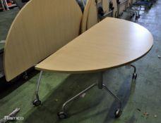 2x Light Wood Effect Half Round fold up tables L 1620mm x W 800mm x H 700mm
