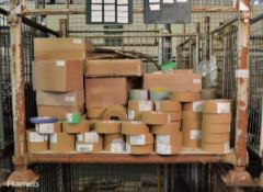 Various reels of scapa tape - beige, green, blue, green & white check, brown parcel