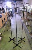 3x Black Metal Coat Stands L 500mm x W 500mm x H 1670mm