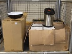 9x 2.5L Airpots - stainless steel, Black & Cream deli bowls x10, Blue serving trays