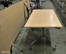 2x Light Wood Effect fold up tables L 600mm x W 800mm x H 700mm