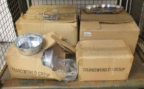 Condiment racks - 12 per box - 2 boxes, 20 inch vegetable dish lids - 10 per box - 2 boxes