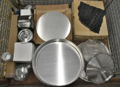 Large round cake tins, Marble effect triplatters, coffee pots, cups, pot lids, plastic cup