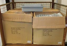 Plastic grey tote boxes - 12 per box - 4 boxes