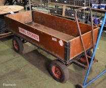 4 wheeled 4 wooden sided trolley - 2000mm (overall) x 750mm