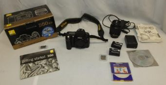 Nikon D50 camera body - serial 7418855 - 2x Batteries, 1x charger, 1x 1GB memory card and more