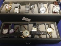 A box containing a mixed lot of lady's fashion watches including Klaus, Kobec, Citizen etc. (13)