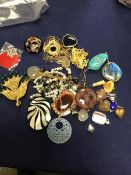 A mixed lot of jewellery comprising pendants and brooches, including mother of pearl, jade etc. (a