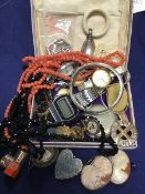 A mixed lot of jewellery and watches including a silver child's teething rattle on ivory ring, a